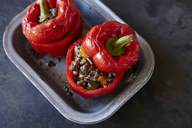 ROAST VEGETABLE & SARDINE STUFFED CAPSICUMS